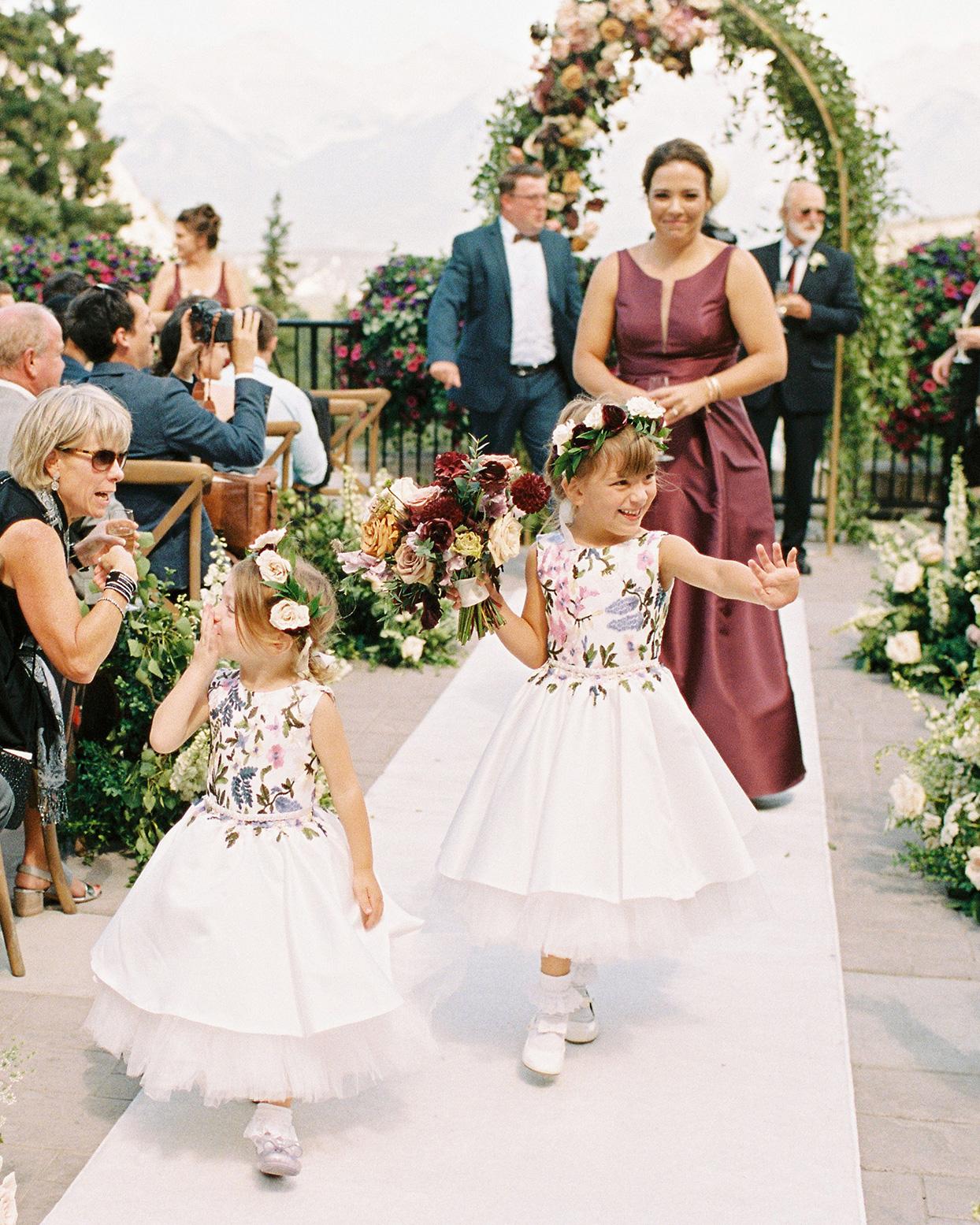 katie nicholas wedding flower girls in white and floral