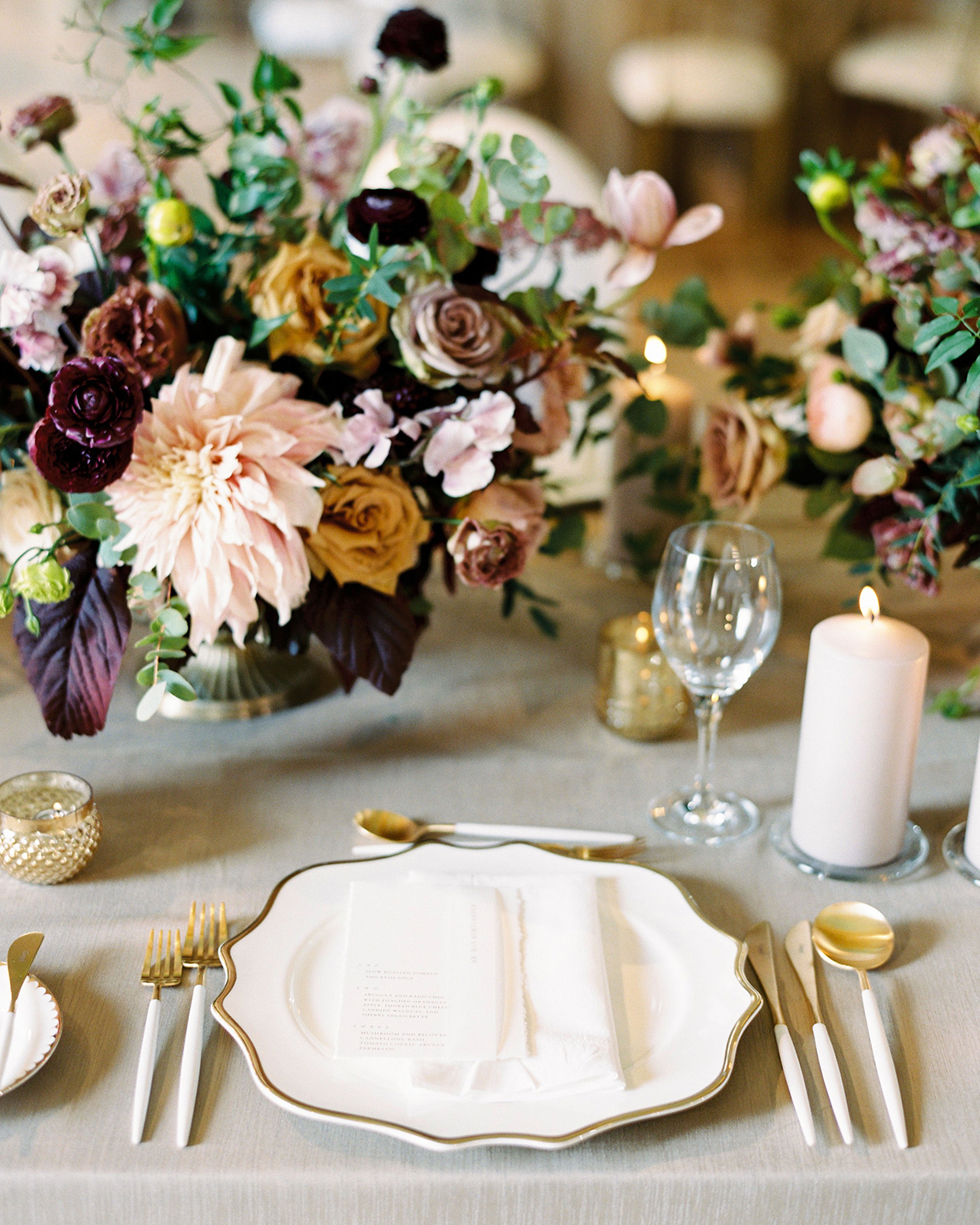 katie nicholas wedding elegant gold and white place setting