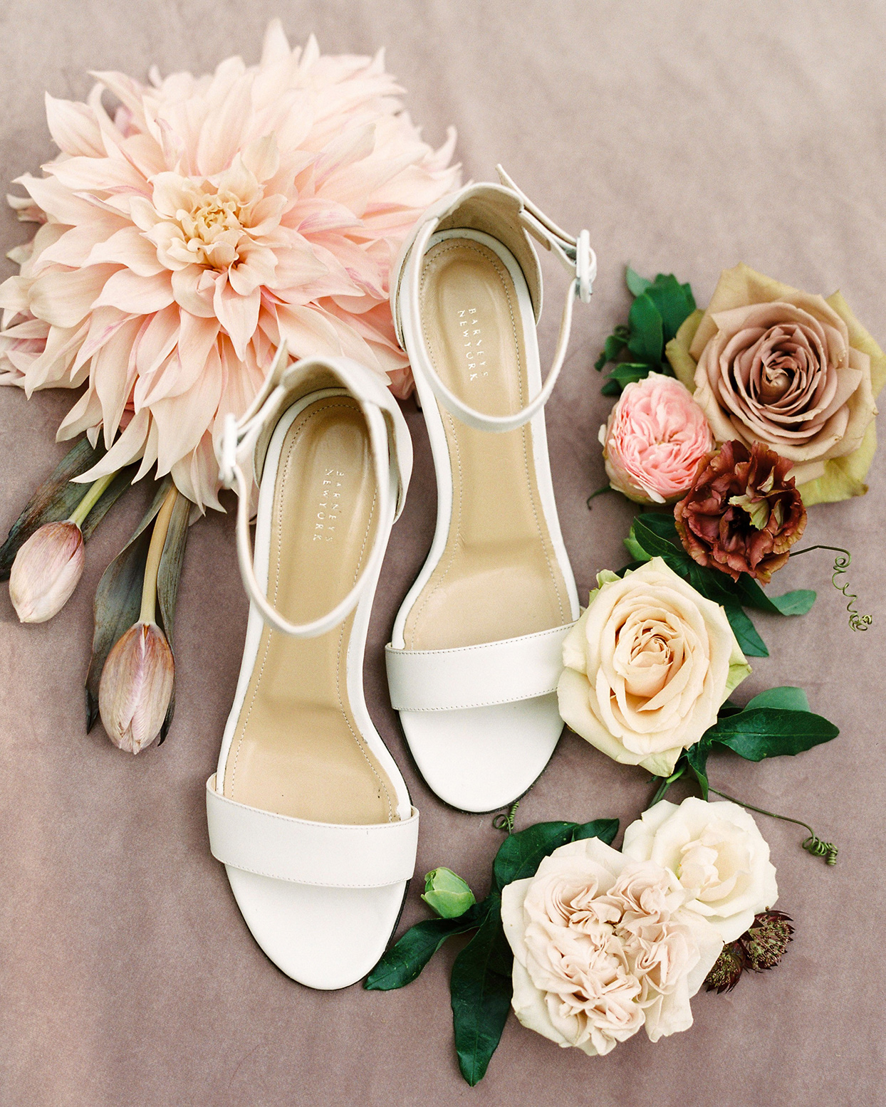 katie nicholas wedding white shoes with flowers