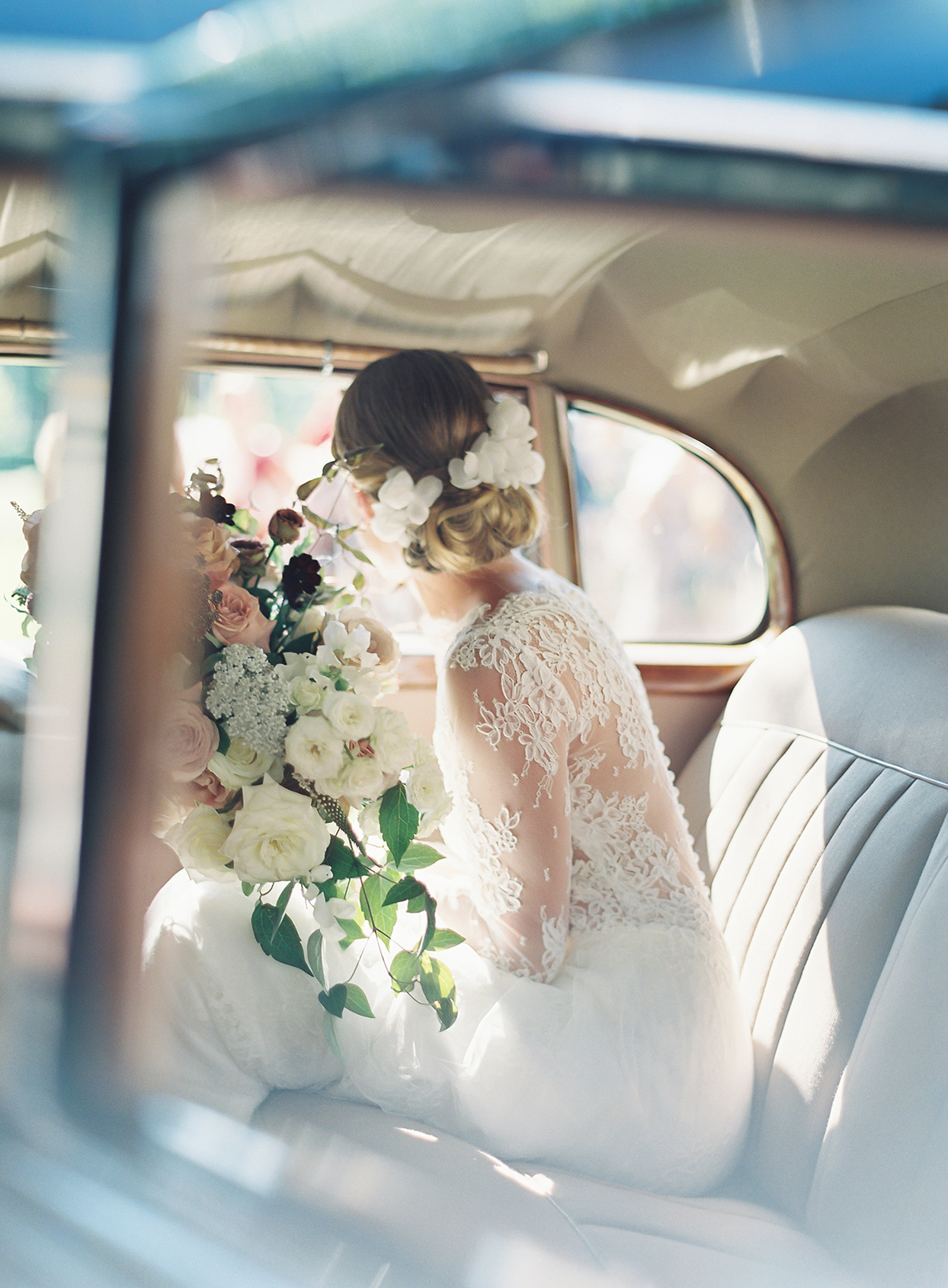 laura alexander wedding bride in car