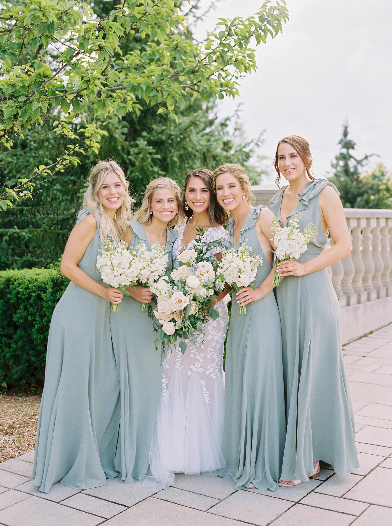soft green colored long bridesmaids dresses