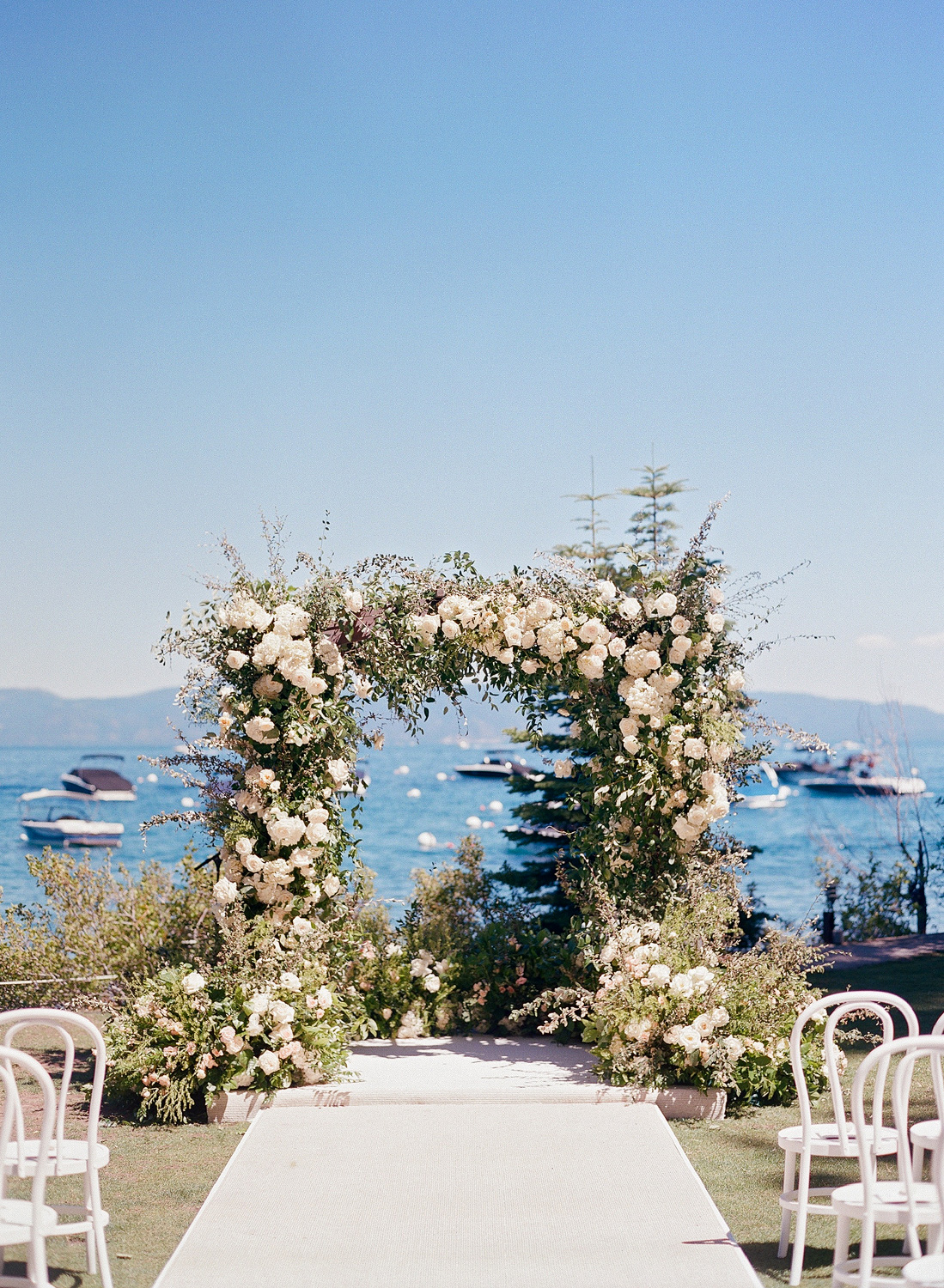 Natalie and Grant wedding ceremony lake Tahoe arch
