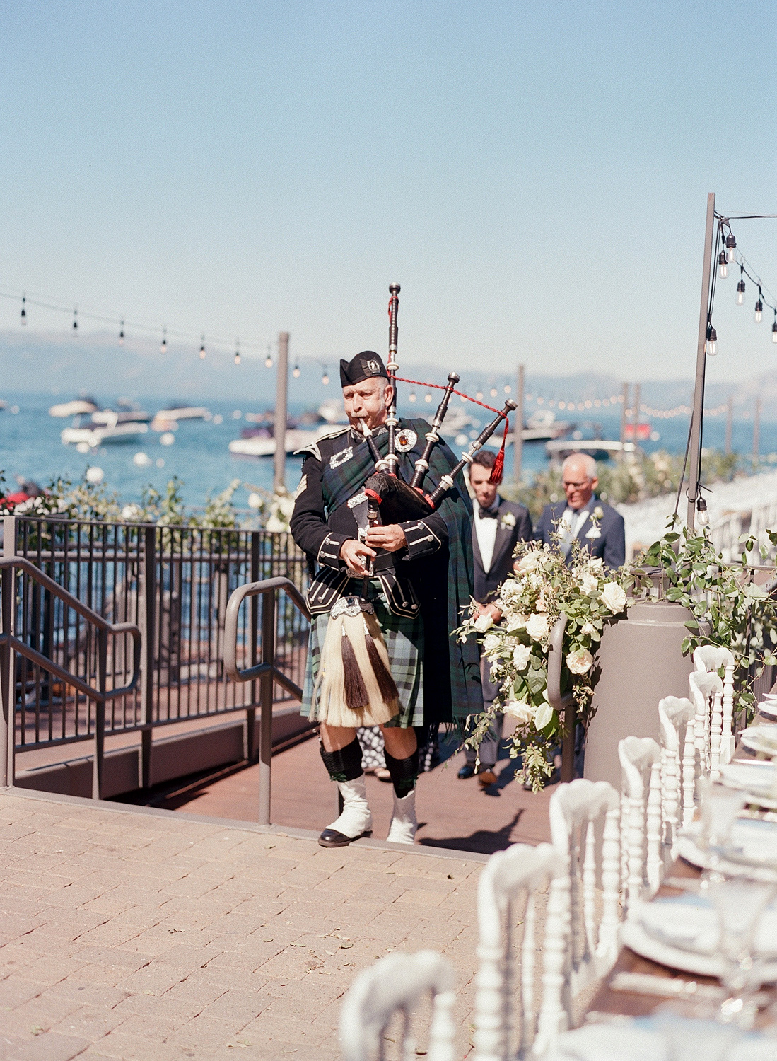 Natalie and Grant wedding ceremony Celtic bagpipes processional