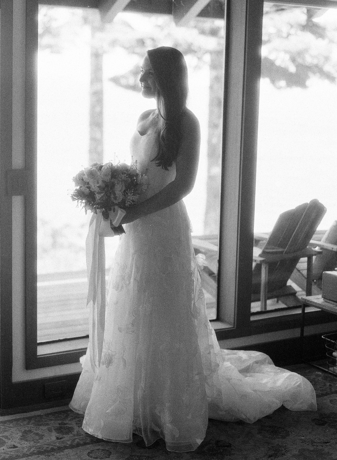 Natalie and Grant wedding bride in Carolina Herrera a-line organza gown