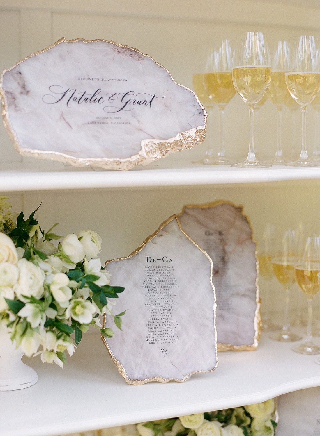 Natalie and Grant wedding seating chart on calligraphed agate slices