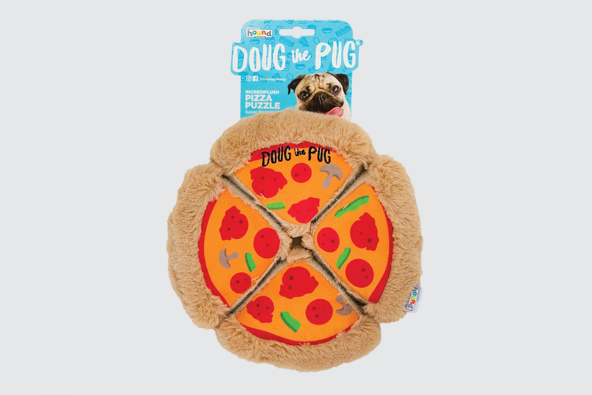 Outward Hound Doug the Pug Incrediplush Pizza Puzzle Squeaky Plush Dog Toy