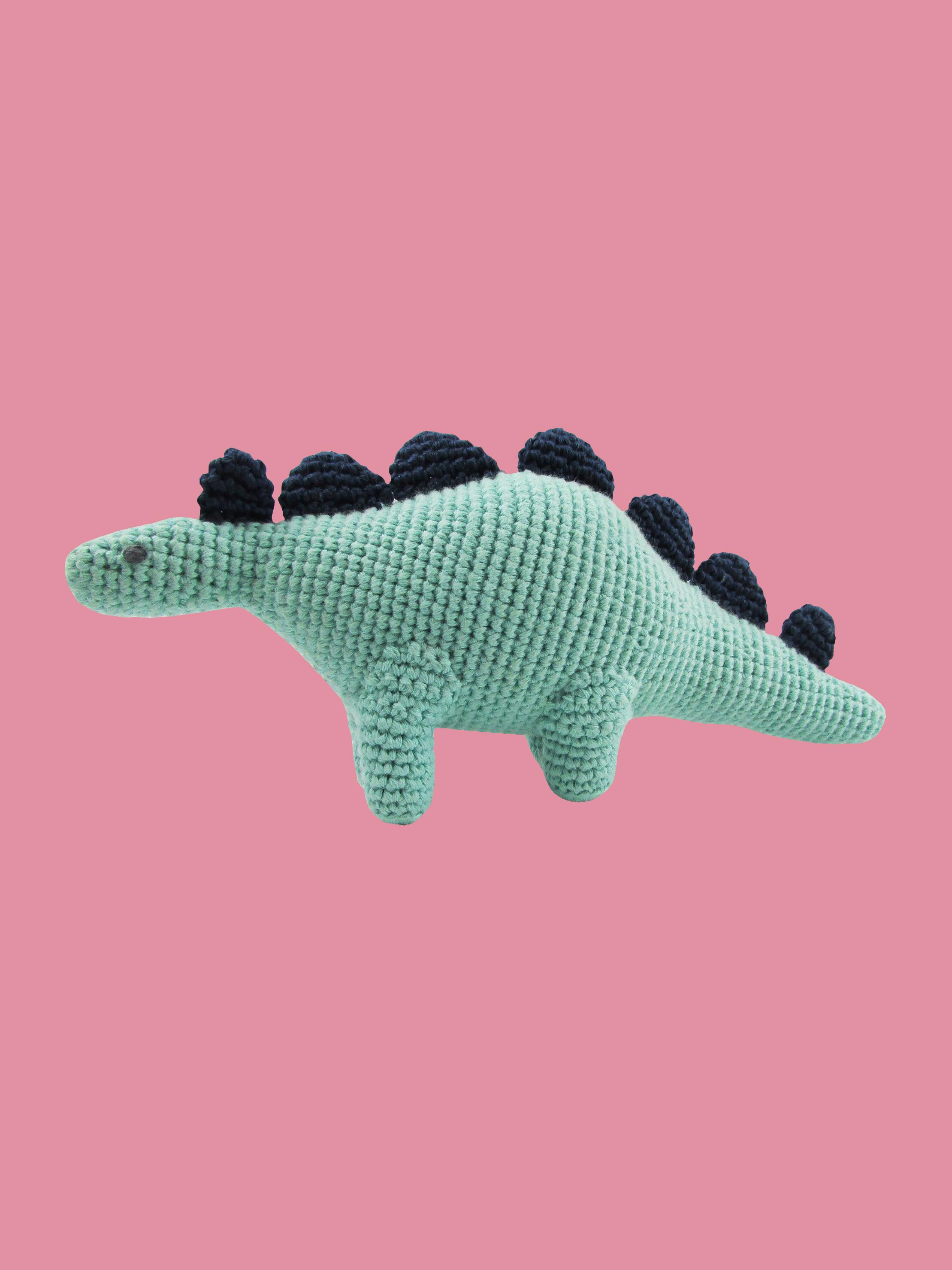 stuffed knit dinosaur doll