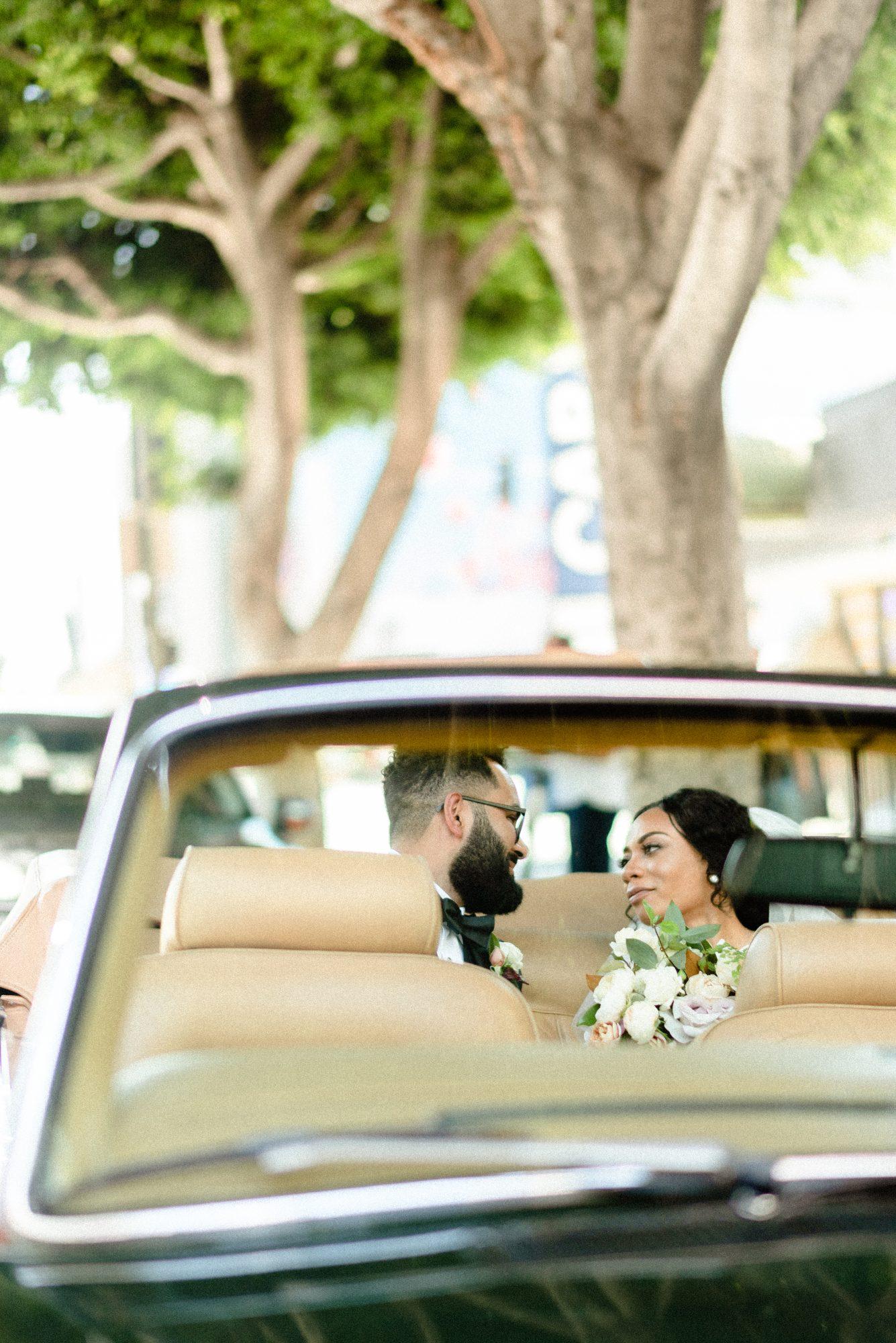ryan shep wedding couple gaze in car