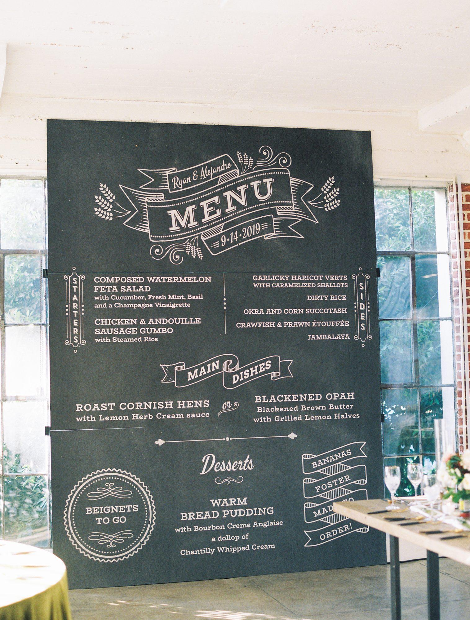 ryan shep wedding enlarged wedding menu
