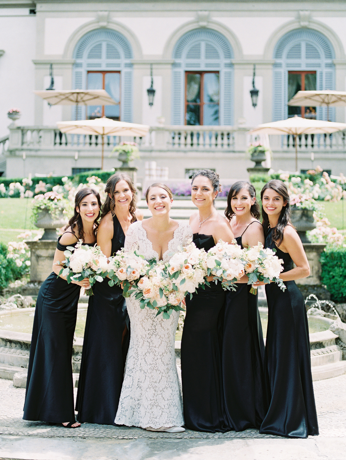 saghar ben wedding bridal party in black