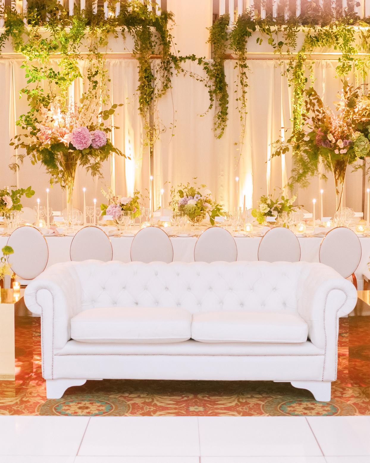 tufted white sofa lounge area