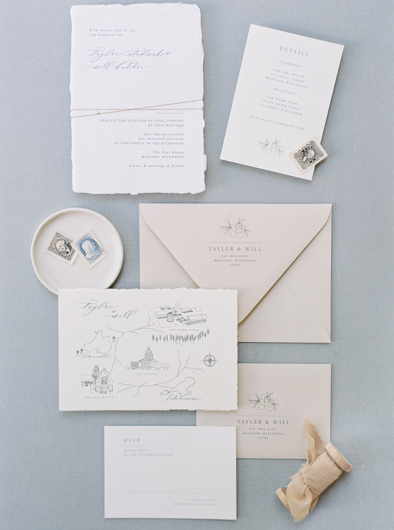 Elegant Invitation Suite handmade paper and natural-toned envelopes