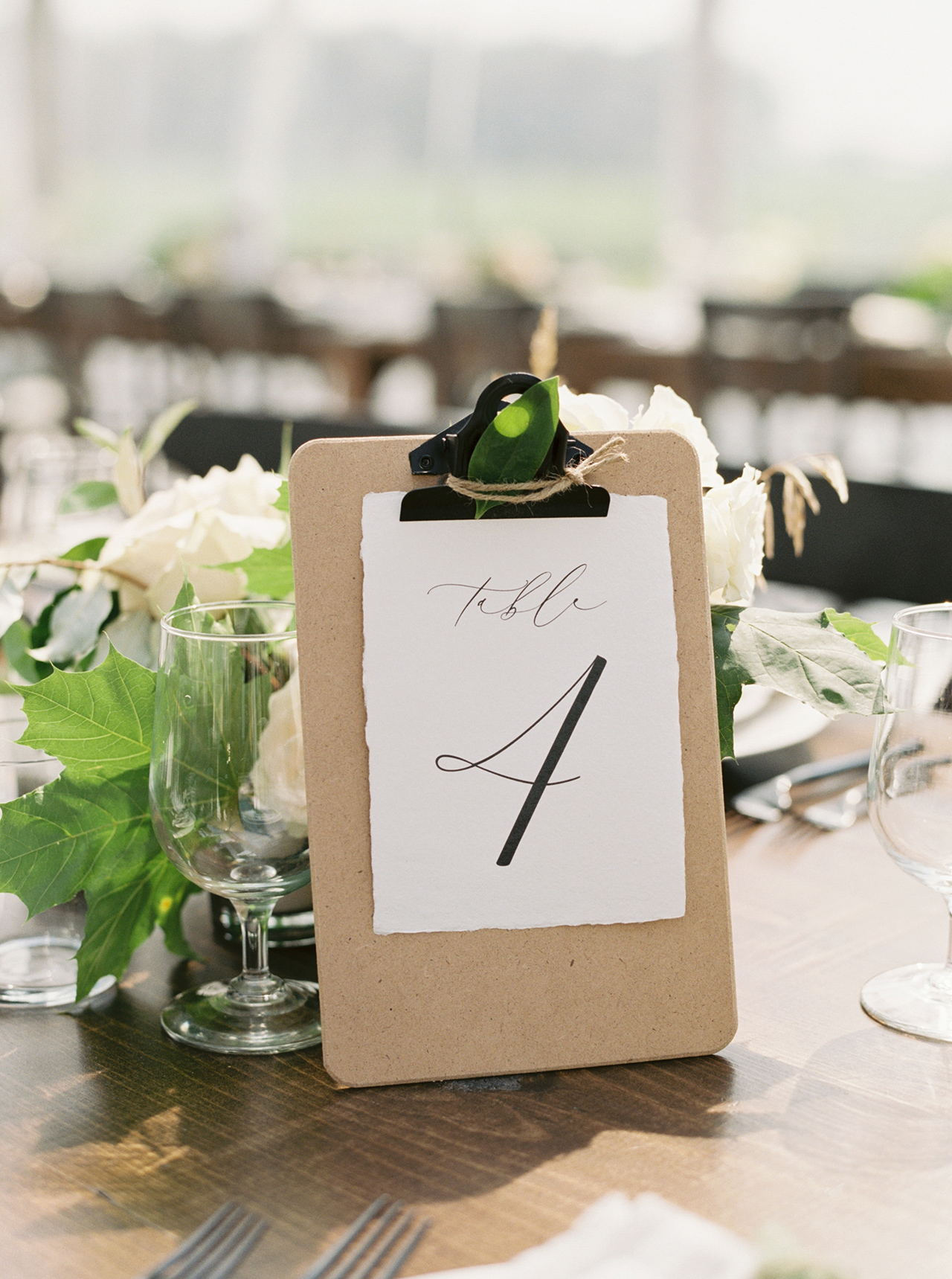 Propped-up clipboards table numbers