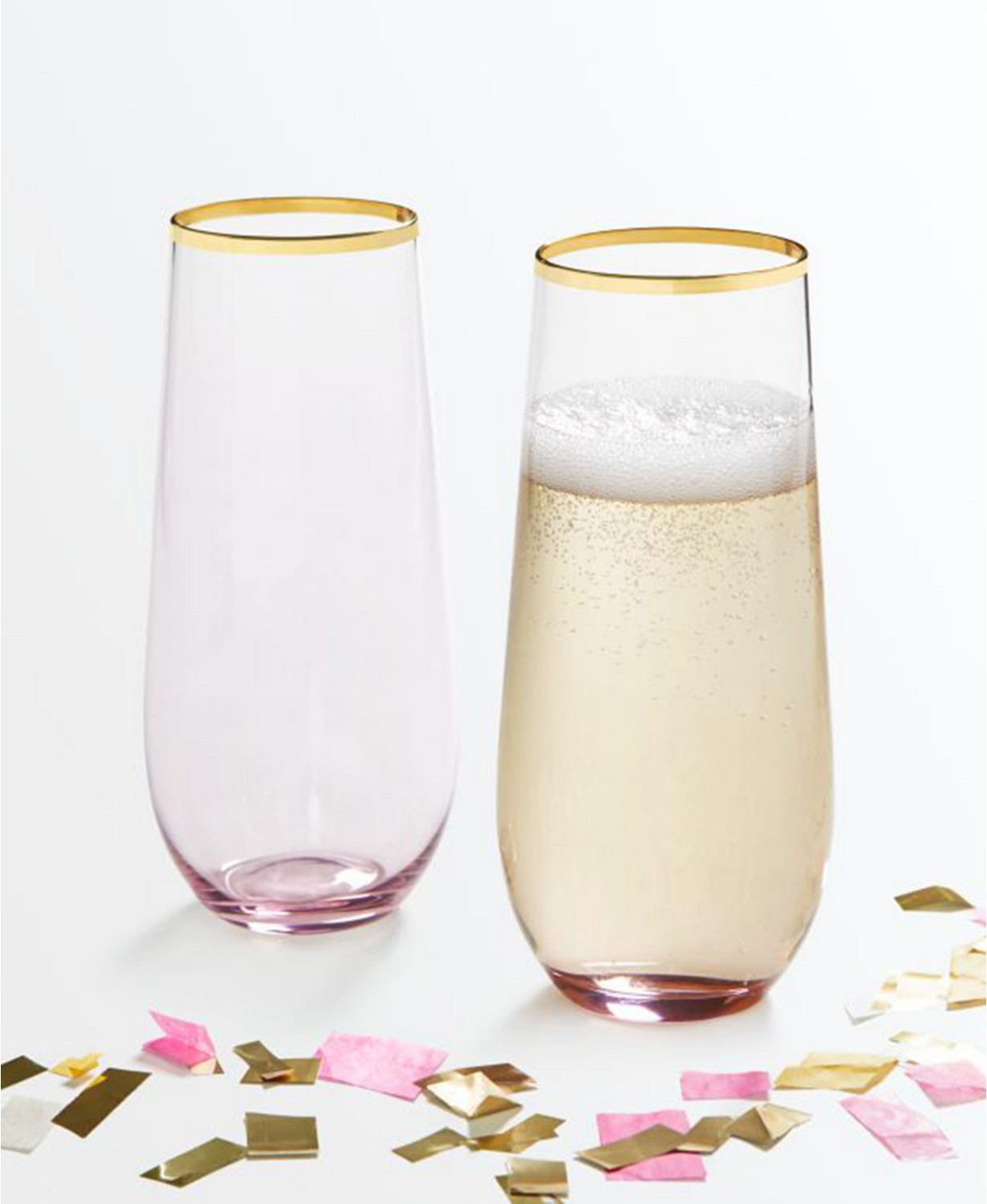 Martha Stewart Collection Stemless Wine Glasses with Gold Rim