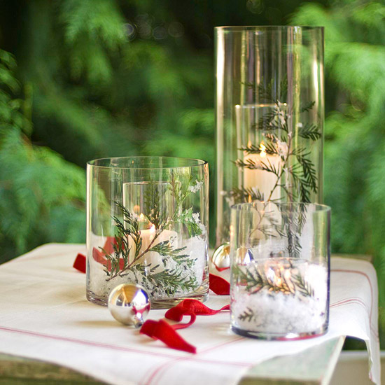 Wintery Double-Glass Candle Display