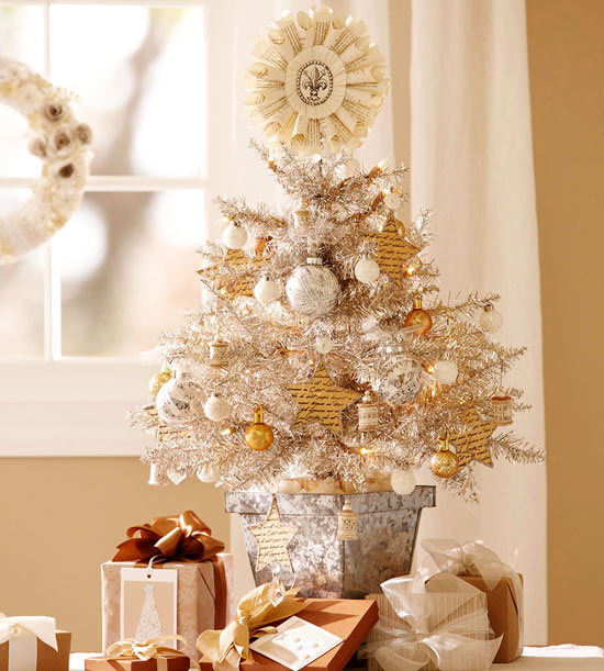 Silver and Gold Tabletop Christmas Tree