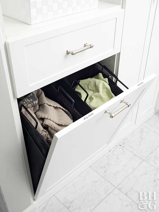 separated laundry receptacle in bathroom