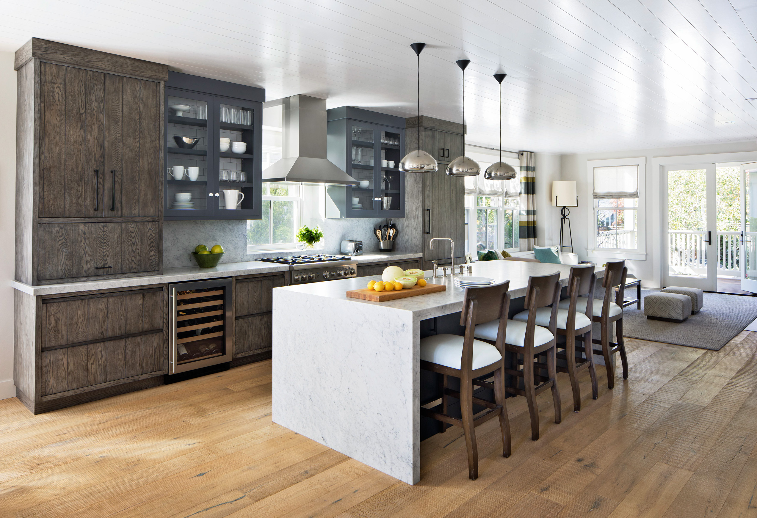 bungalow farmhouse kitchen marble island