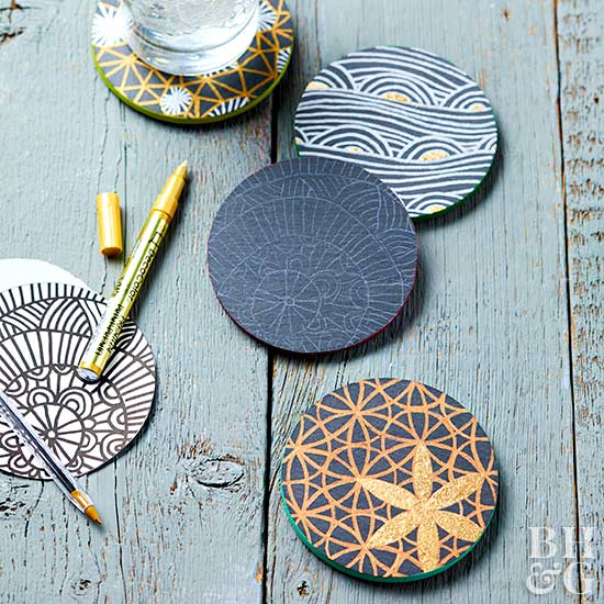 patterned slate coasters project