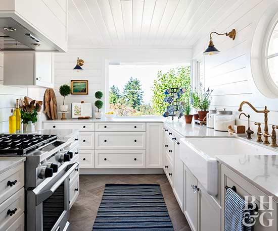 small bright kitchen with shiplap