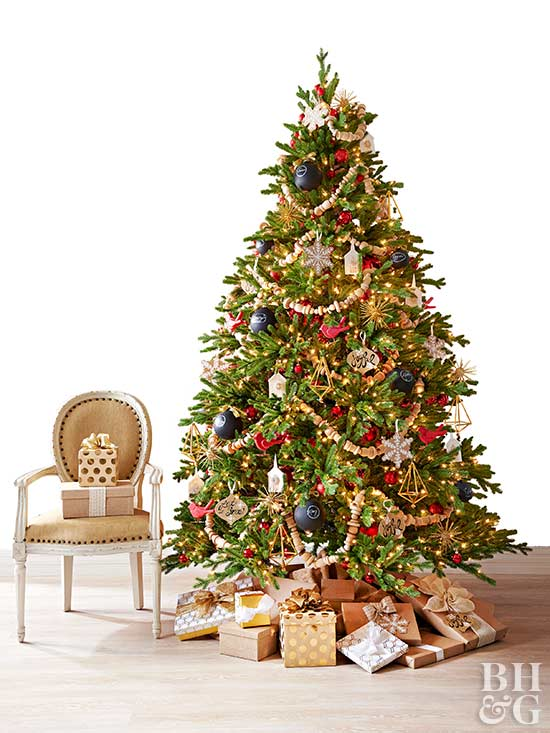 Real Home Christmas Tree, Assorted Ornaments, Gold Presents