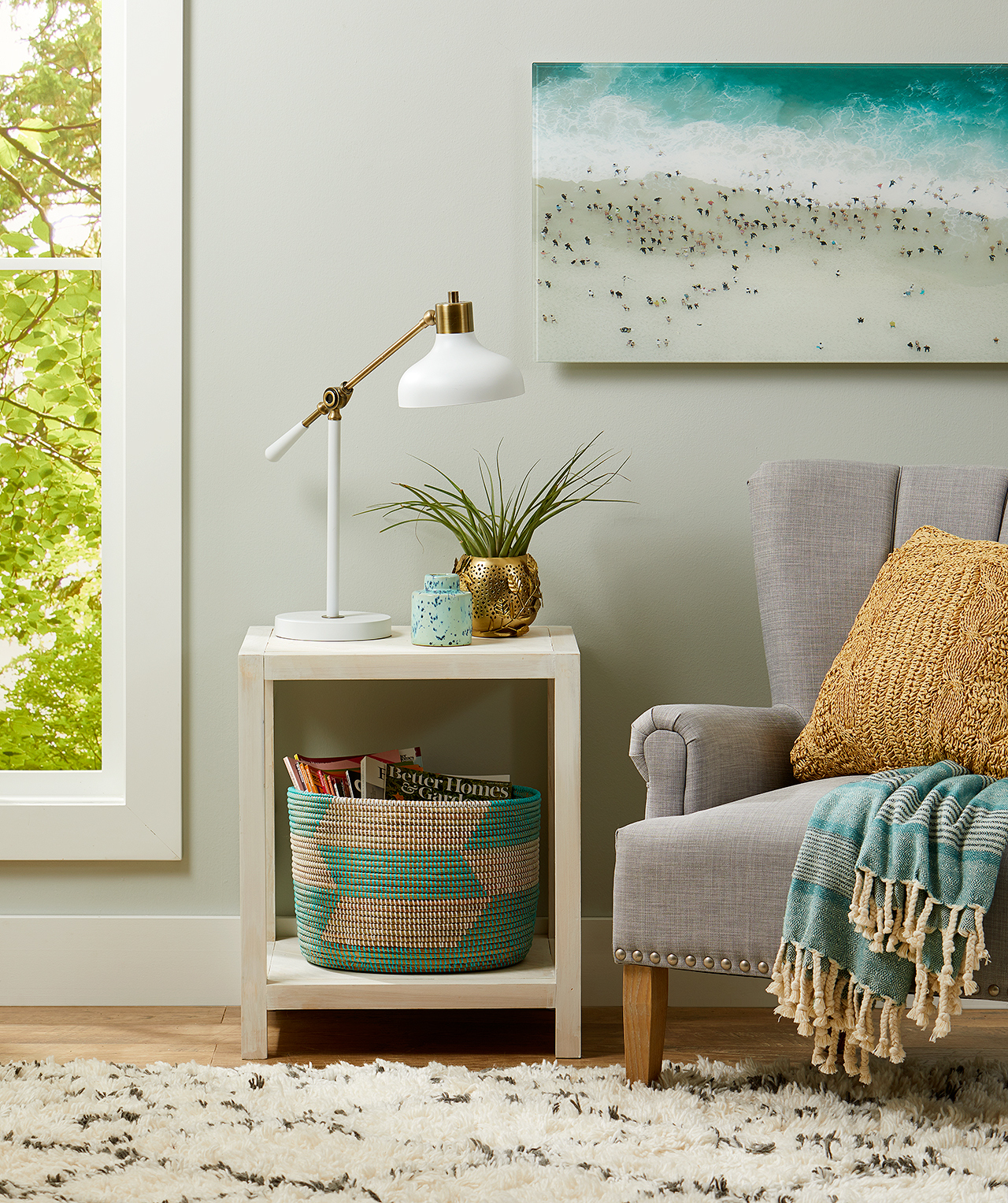DIY side table with chair and artwork