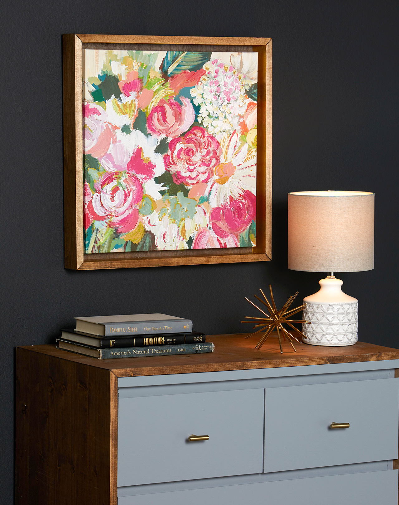 diy dresser and water color wall art