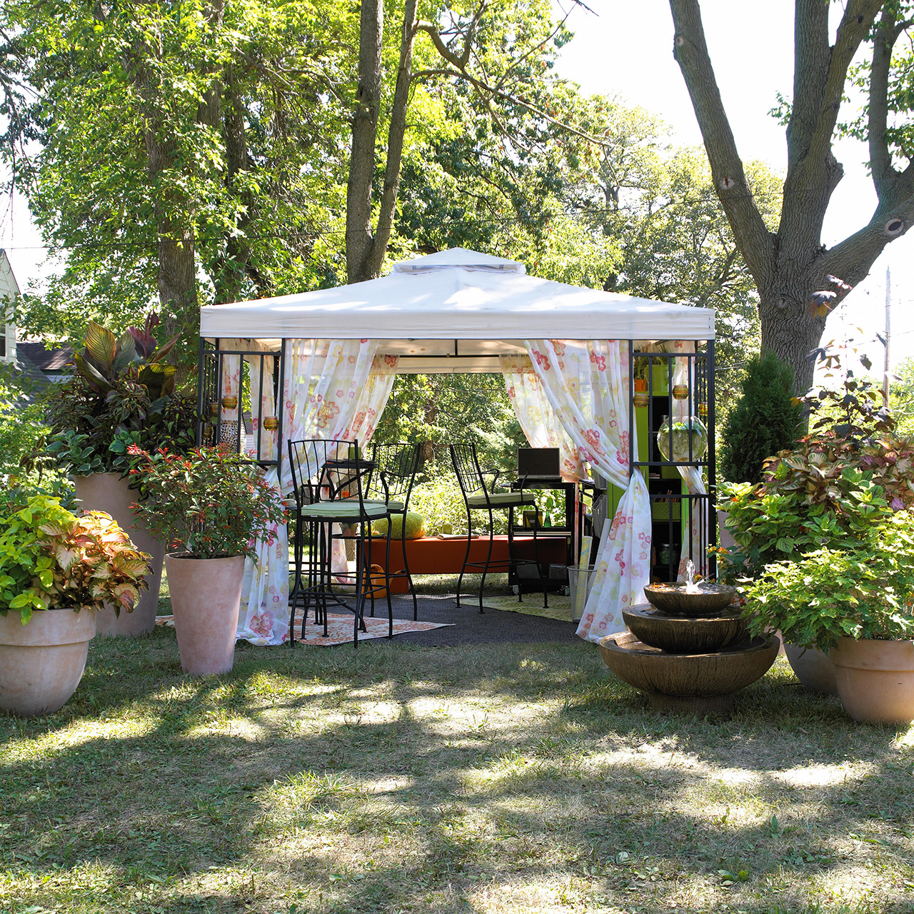 backyard tent seating area