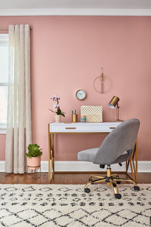 home office feauturing walls painted bombay pink