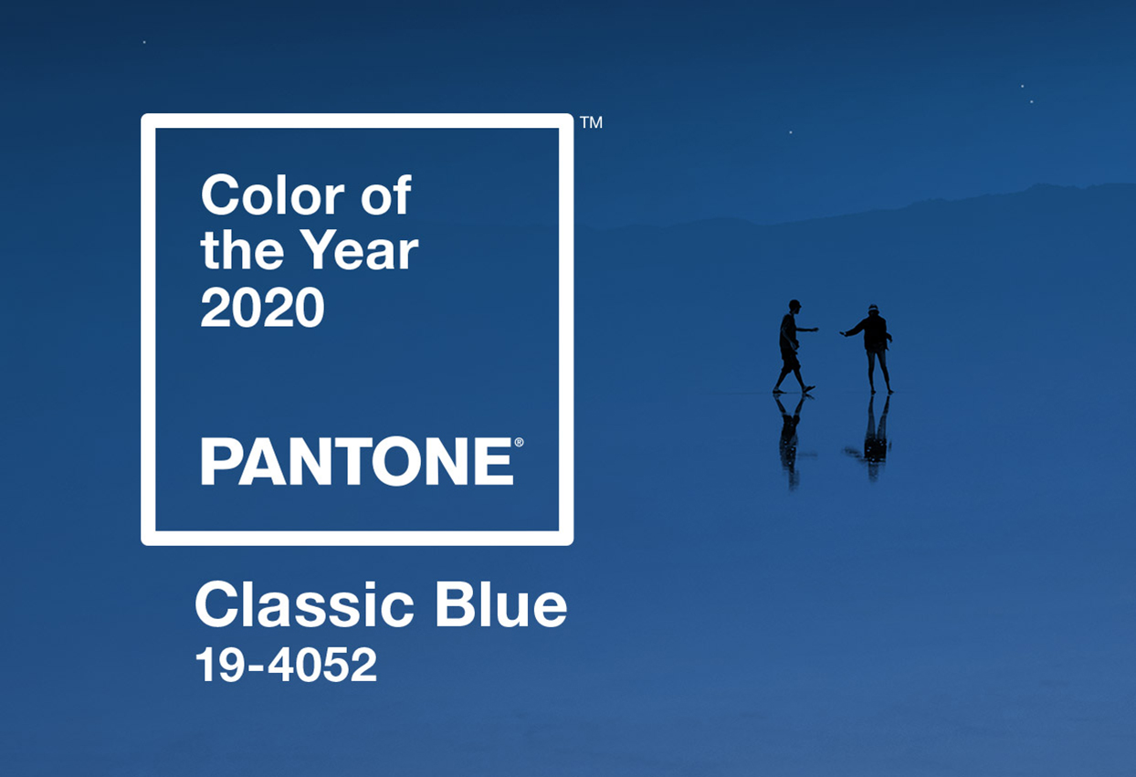 pantone 2020 color of the year graphic on dark blue background