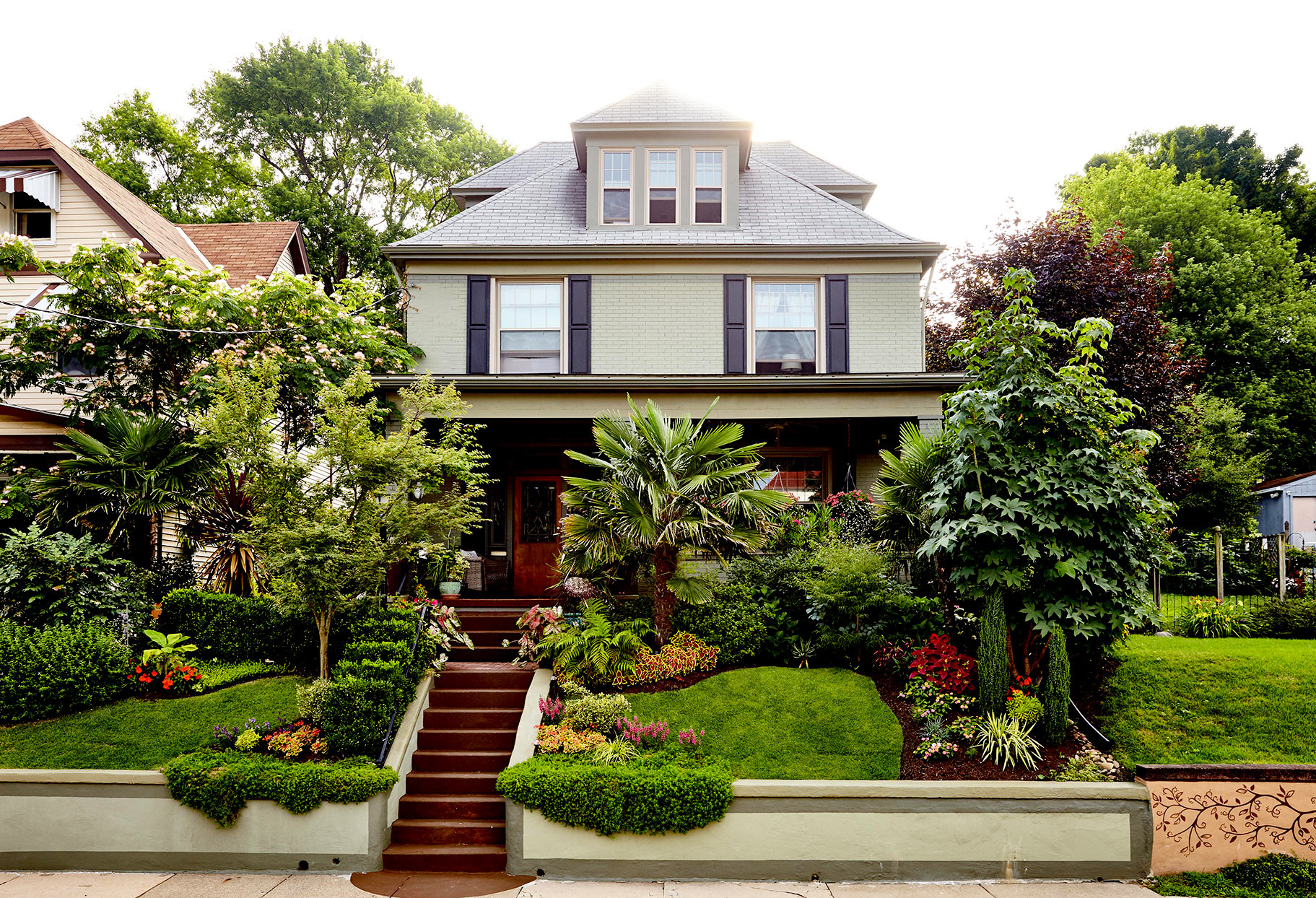 Front yard with multiple plants