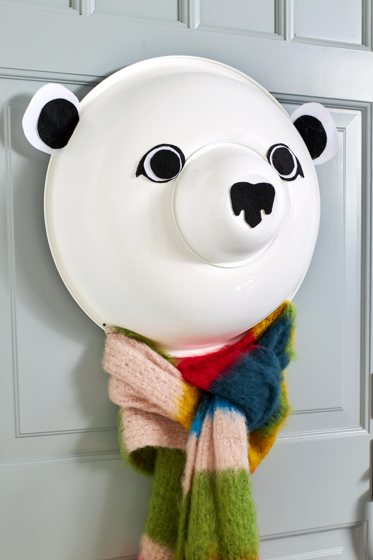 diy polar bear door décor wearing scarf