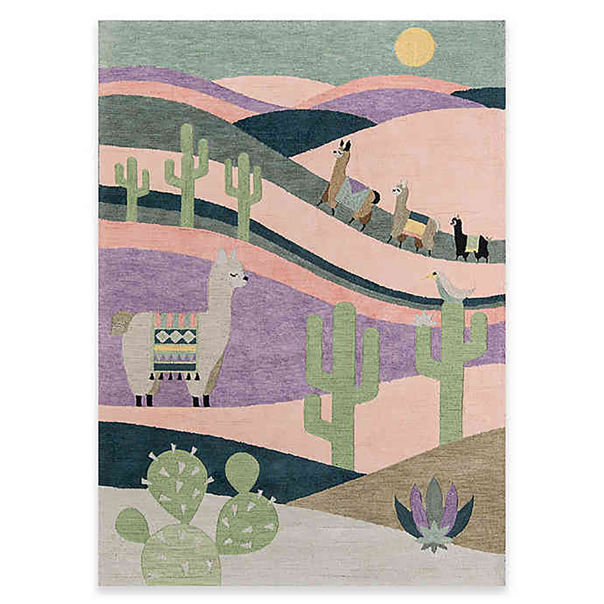 Pink purple and green rug with cacti and llamas