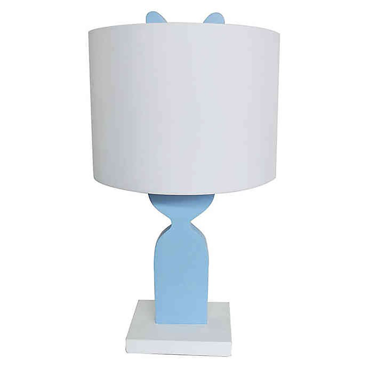 Table lamp with white shade and blue bunny shaped base