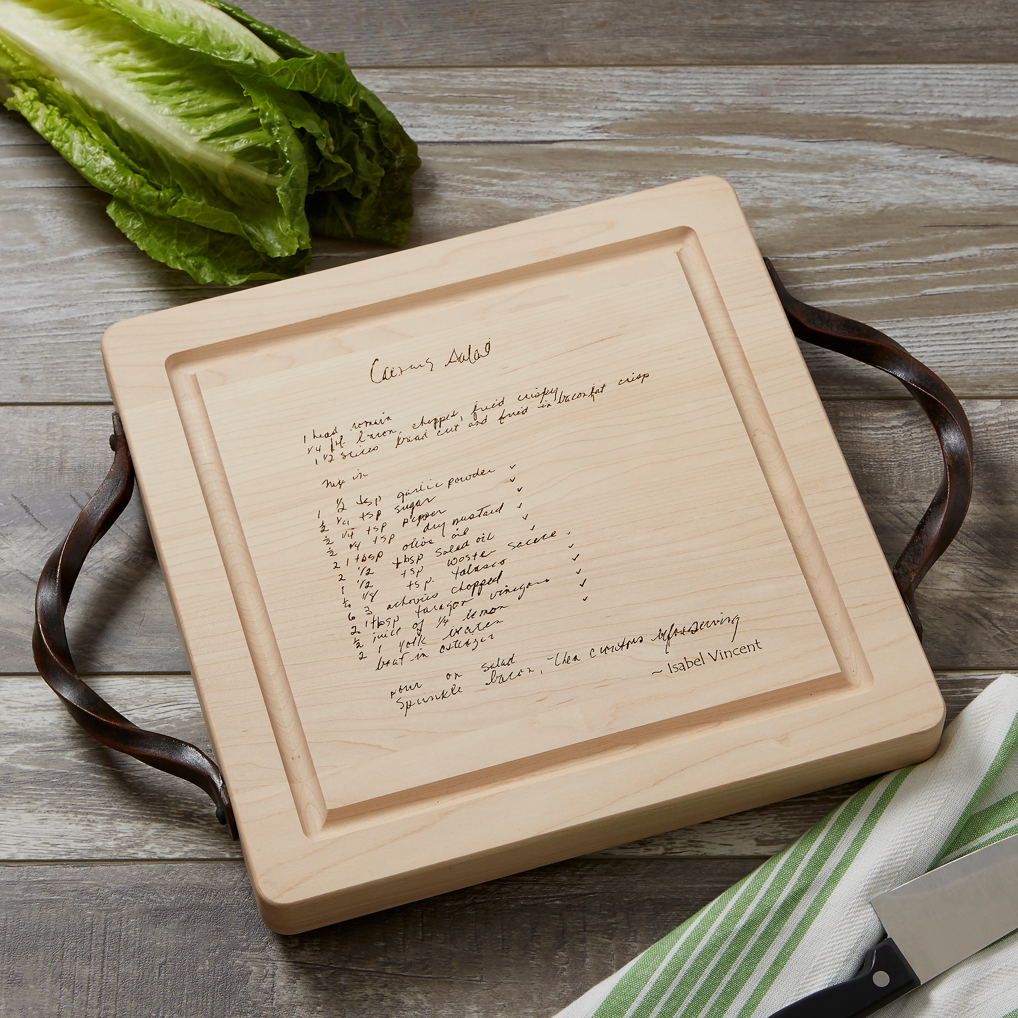 Square wood cutting board with engraved handwritten recipe