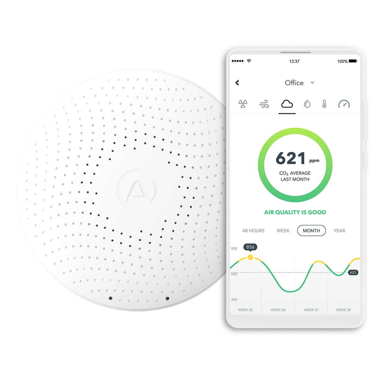 white air monitor and mobile phone displaying app
