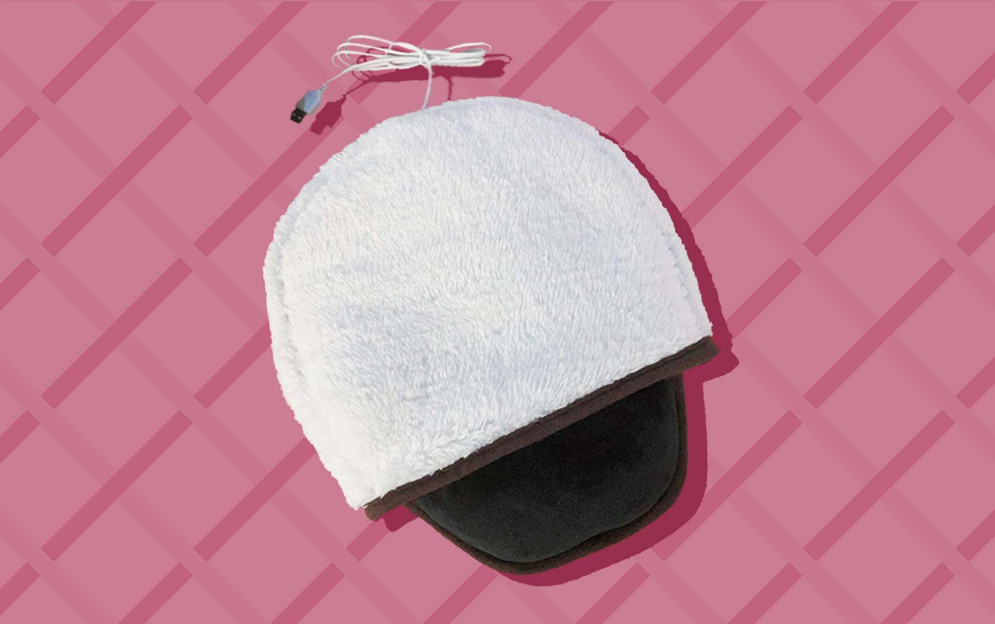 silo of a white heated mousepad on a colored background
