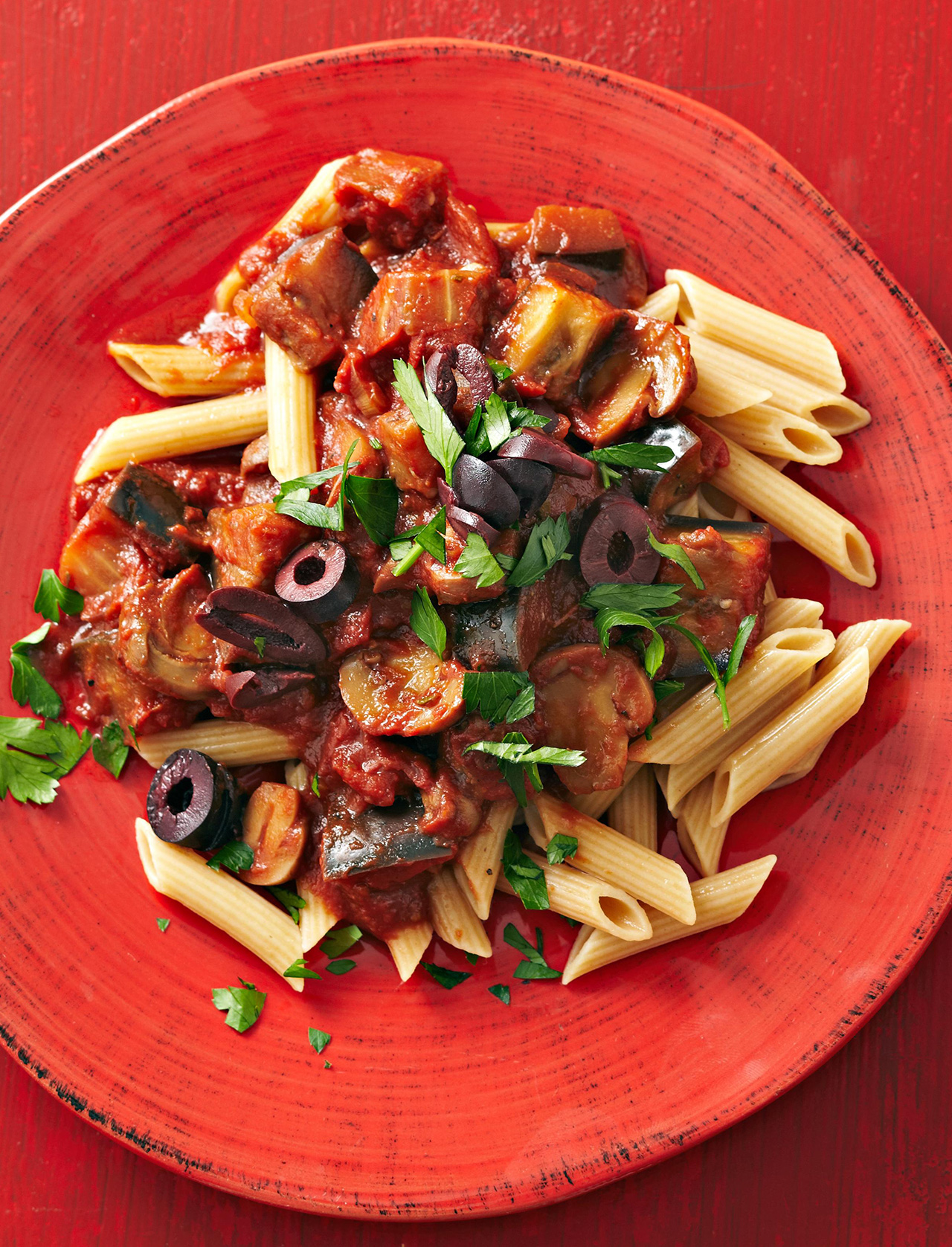 Penne with Tomato-Eggplant Sauce