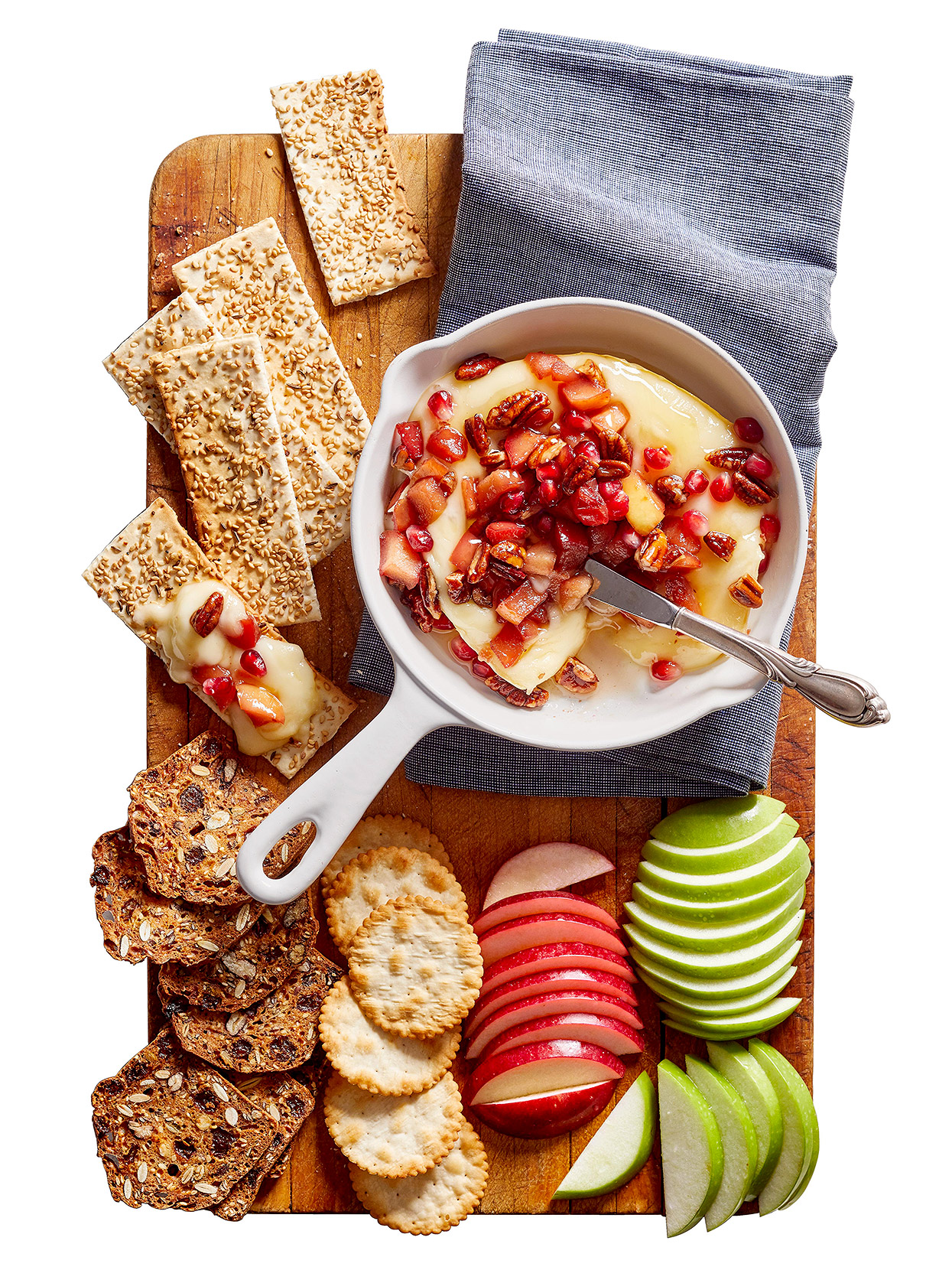 Apple-Pomegranate Topped Brie