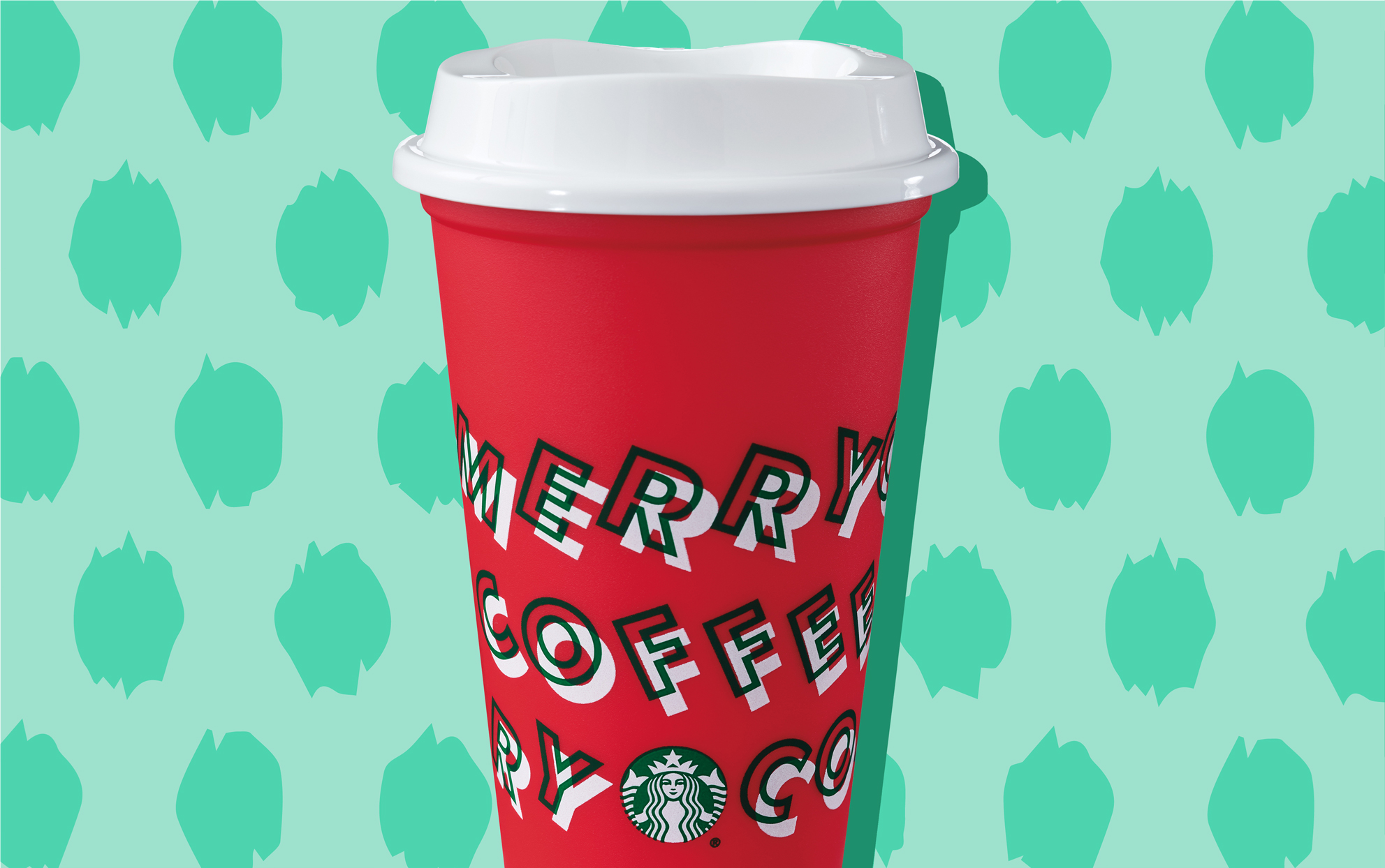 Starbucks holiday red to go cup on a festive background