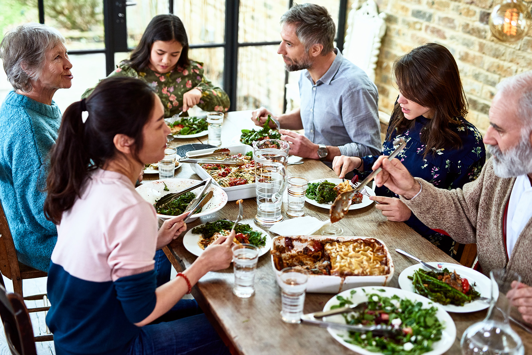 family sharing meal together