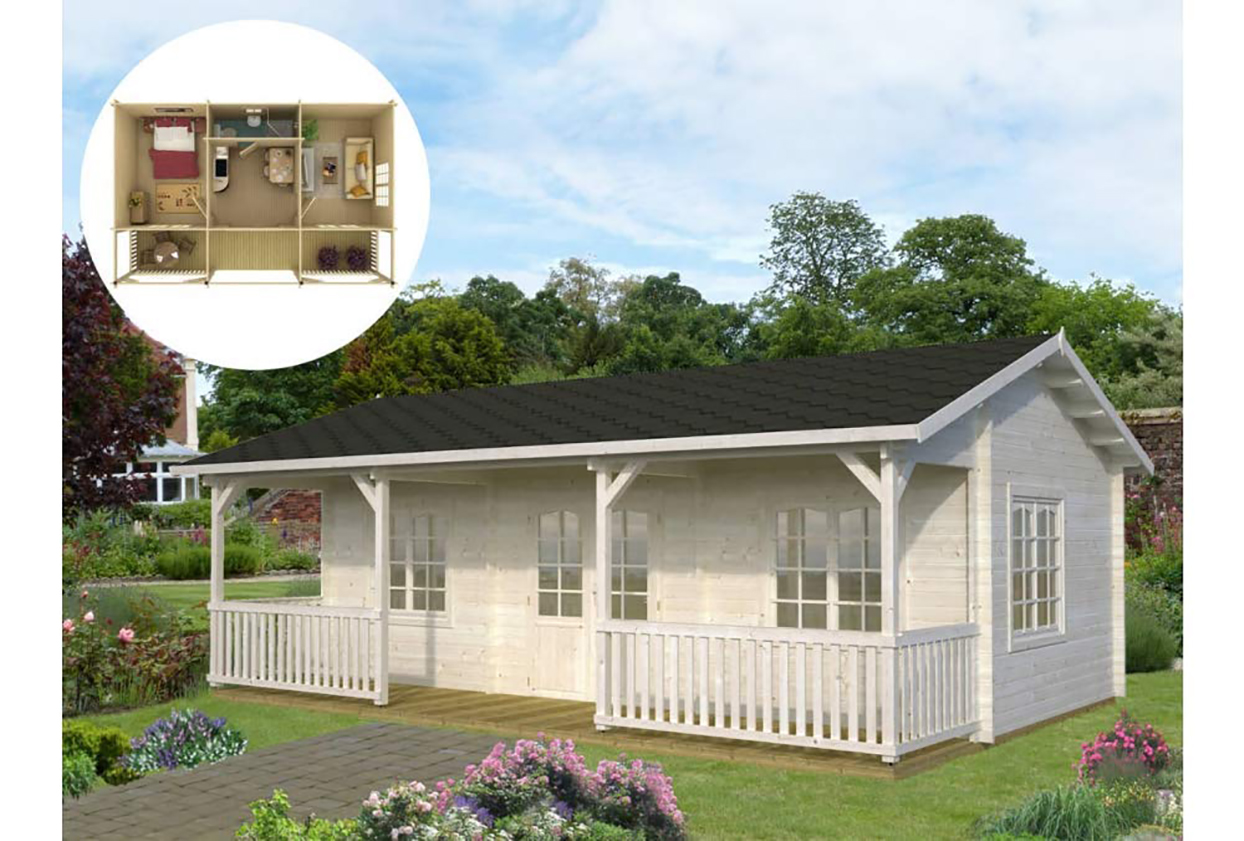 white tiny house with dark gray roof and front porch
