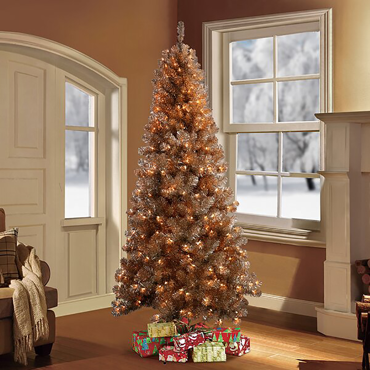 Rose Gold Pine Artificial Christmas Tree with 400 White Light