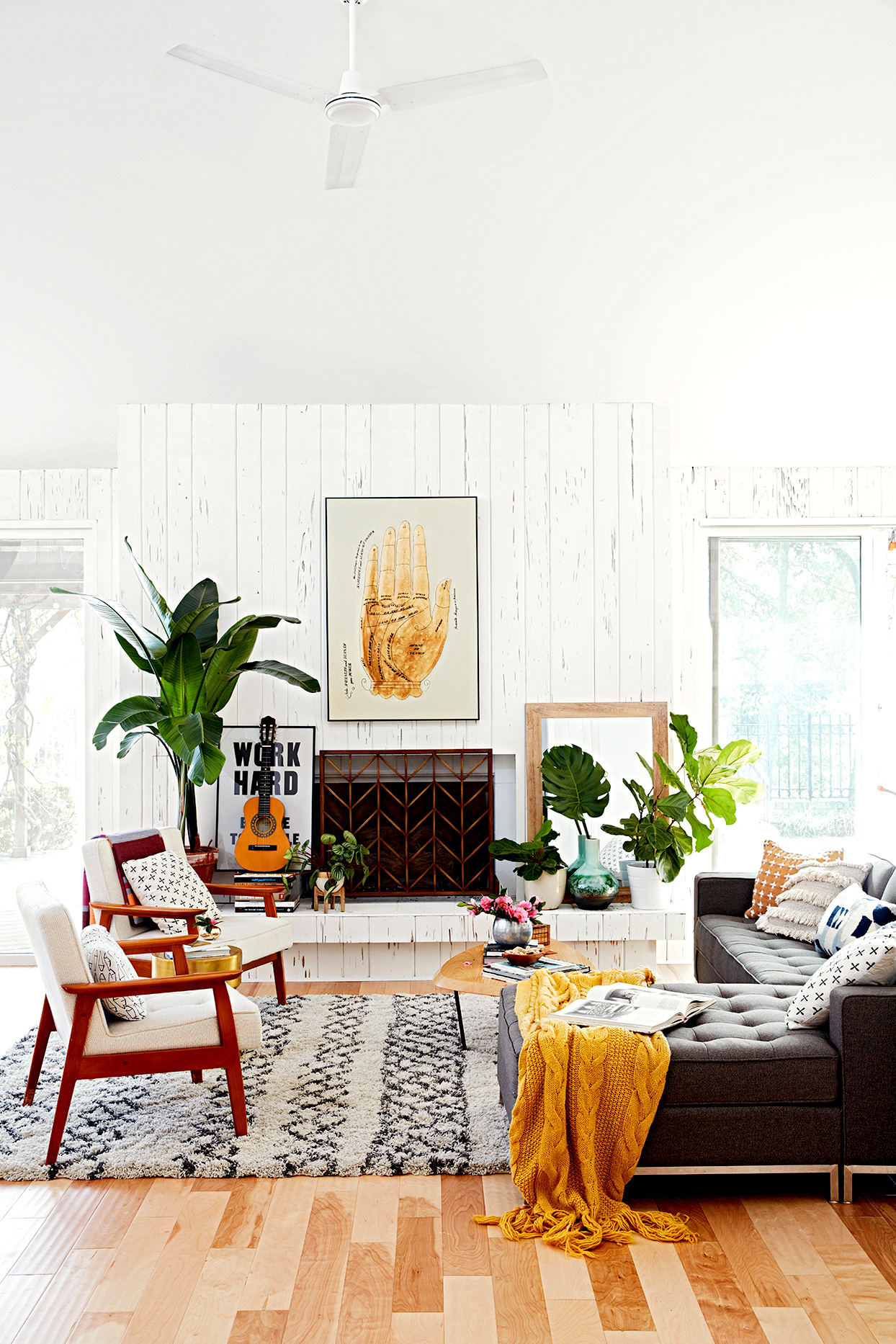 Living room with white walls and fireplace