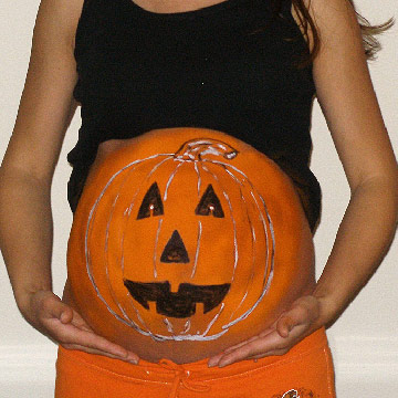 White Outlined Jack o Lantern Belly