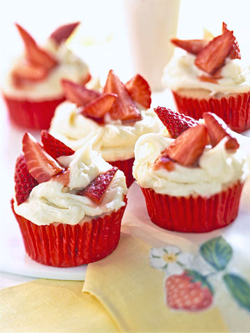 Berry-Capped Strawberry Cupcakes