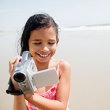 child with camcorder