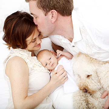 family with pet dog