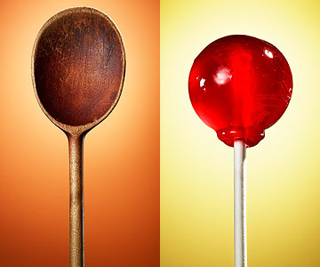 Wooden spoon and red lollipop