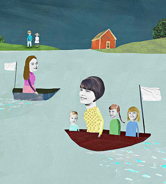 Families in boats